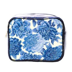 Blue Toned Flowers Mini Toiletries Bags by Brittlevirginclothing