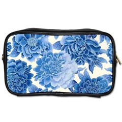 Blue Toned Flowers Toiletries Bags by Brittlevirginclothing