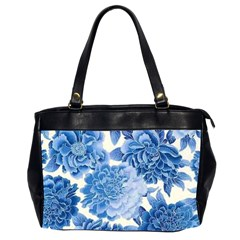 Blue Toned Flowers Office Handbags (2 Sides)  by Brittlevirginclothing