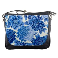 Blue Toned Flowers Messenger Bags by Brittlevirginclothing