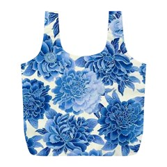 Blue Toned Flowers Full Print Recycle Bags (l)  by Brittlevirginclothing