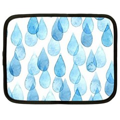 Cute Blue Rain Drops Netbook Case (large) by Brittlevirginclothing