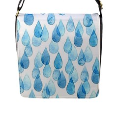 Cute Blue Rain Drops Flap Messenger Bag (l)  by Brittlevirginclothing