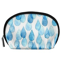 Cute Blue Rain Drops Accessory Pouches (large)  by Brittlevirginclothing