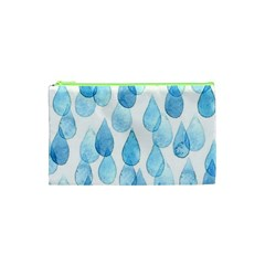 Cute Blue Rain Drops Cosmetic Bag (xs) by Brittlevirginclothing