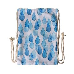 Cute Blue Rain Drops Drawstring Bag (small) by Brittlevirginclothing