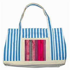 Pink Colored Wood Striped Blue Tote Bag by Brittlevirginclothing