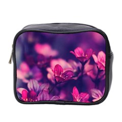 Blurry Violet Flowers Mini Toiletries Bag 2 Side by Brittlevirginclothing