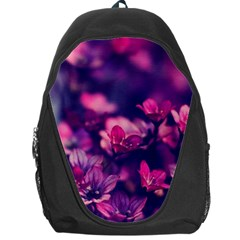 Blurry Violet Flowers Backpack Bag by Brittlevirginclothing