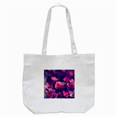 Blurry Violet Flowers Tote Bag (white) by Brittlevirginclothing
