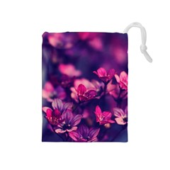 Blurry Violet Flowers Drawstring Pouches (medium)  by Brittlevirginclothing