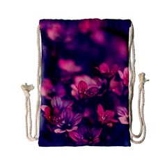 Blurry Violet Flowers Drawstring Bag (small) by Brittlevirginclothing