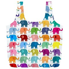 Lovely Colorful Mini Elephant Full Print Recycle Bags (l)  by Brittlevirginclothing