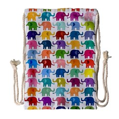 Lovely Colorful Mini Elephant Drawstring Bag (large) by Brittlevirginclothing