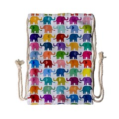 Lovely Colorful Mini Elephant Drawstring Bag (small) by Brittlevirginclothing