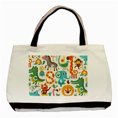 Lovely Small Cartoon Animals Basic Tote Bag by Brittlevirginclothing