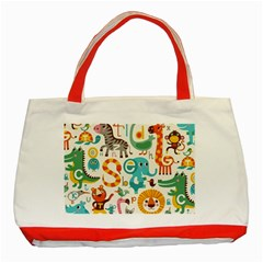 Lovely Small Cartoon Animals Classic Tote Bag (red) by Brittlevirginclothing