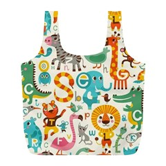 Lovely Small Cartoon Animals Full Print Recycle Bags (l)  by Brittlevirginclothing
