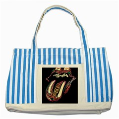 The Rolling Stones Glowing Logo Striped Blue Tote Bag by Brittlevirginclothing