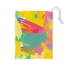 Colorful Paint Brush  Drawstring Pouches (large)  by Brittlevirginclothing