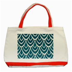 Blue Fish Scales  Classic Tote Bag (red) by Brittlevirginclothing