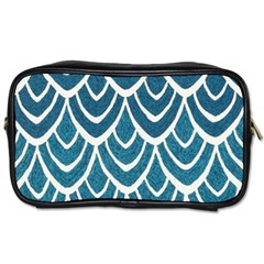 Blue Fish Scales  Toiletries Bags 2 Side by Brittlevirginclothing