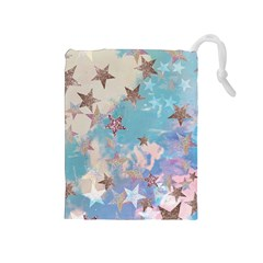 Pastel Colored Stars  Drawstring Pouches (medium)  by Brittlevirginclothing