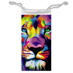 Colorful Lion s Face  Jewelry Bag by Brittlevirginclothing