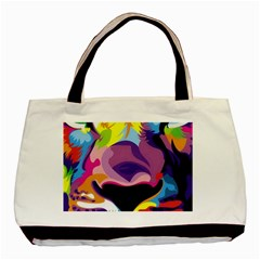 Colorful Lion s Face  Basic Tote Bag by Brittlevirginclothing