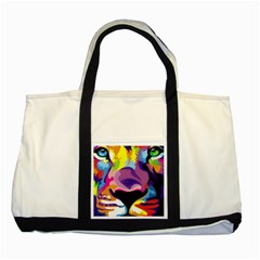 Colorful Lion s Face  Two Tone Tote Bag by Brittlevirginclothing
