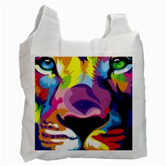 Colorful Lion s Face  Recycle Bag (one Side)