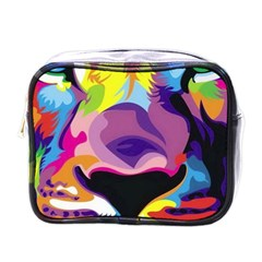 Colorful Lion s Face  Mini Toiletries Bags by Brittlevirginclothing