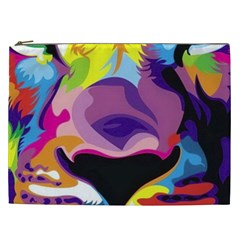 Colorful Lion s Face  Cosmetic Bag (xxl)  by Brittlevirginclothing