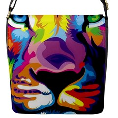 Colorful Lion s Face  Flap Messenger Bag (s) by Brittlevirginclothing
