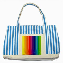 Fading Rainbow Striped Blue Tote Bag by Brittlevirginclothing
