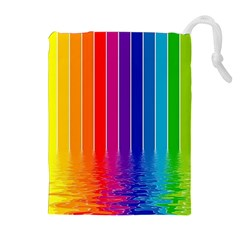 Fading Rainbow Drawstring Pouches (extra Large) by Brittlevirginclothing