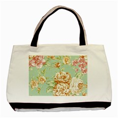 Vintage Pastel Flowers Basic Tote Bag by Brittlevirginclothing