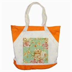 Vintage Pastel Flowers Accent Tote Bag by Brittlevirginclothing