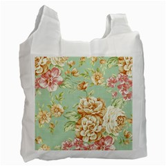 Vintage Pastel Flowers Recycle Bag (two Side)  by Brittlevirginclothing