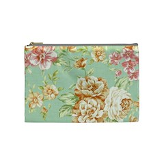 Vintage Pastel Flowers Cosmetic Bag (medium)  by Brittlevirginclothing