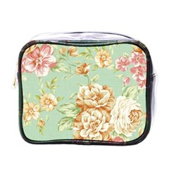 Vintage Pastel Flowers Mini Toiletries Bags by Brittlevirginclothing