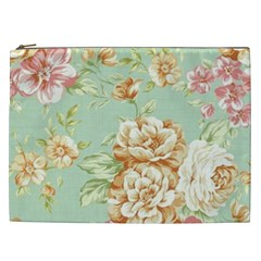 Vintage Pastel Flowers Cosmetic Bag (xxl)  by Brittlevirginclothing