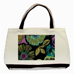 Lila Toned Flowers Basic Tote Bag (two Sides) by Brittlevirginclothing