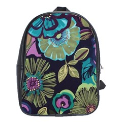 Lila Toned Flowers School Bags(large)  by Brittlevirginclothing
