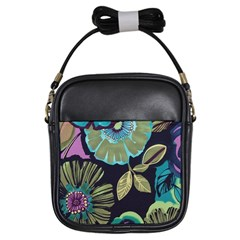 Lila Toned Flowers Girls Sling Bags by Brittlevirginclothing