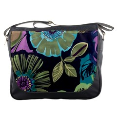 Lila Toned Flowers Messenger Bags by Brittlevirginclothing