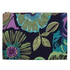 Lila Toned Flowers Cosmetic Bag (xxl)  by Brittlevirginclothing