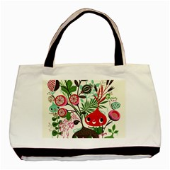 Cute Flower Cartoon  Characters  Basic Tote Bag by Brittlevirginclothing