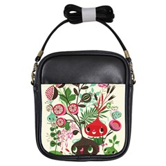 Cute Flower Cartoon  Characters  Girls Sling Bags by Brittlevirginclothing