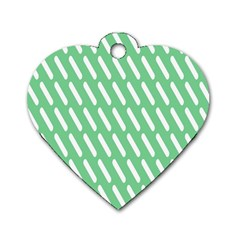 Green White Desktop Dog Tag Heart (two Sides) by Jojostore